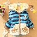 Otoño Invierno Del Bebé de Dibujos Animados Pata Rayado Grueso Fleece Cálido prendas de Abrigo Parkas Desgaste Nieve Ropa de Niños