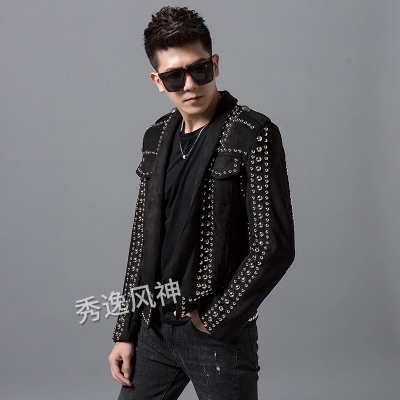 100%real Luxury Mens Red Carpet Black Rivet Jacket Club/stage Performance/studio/Asia Size/this Is Only Jacket