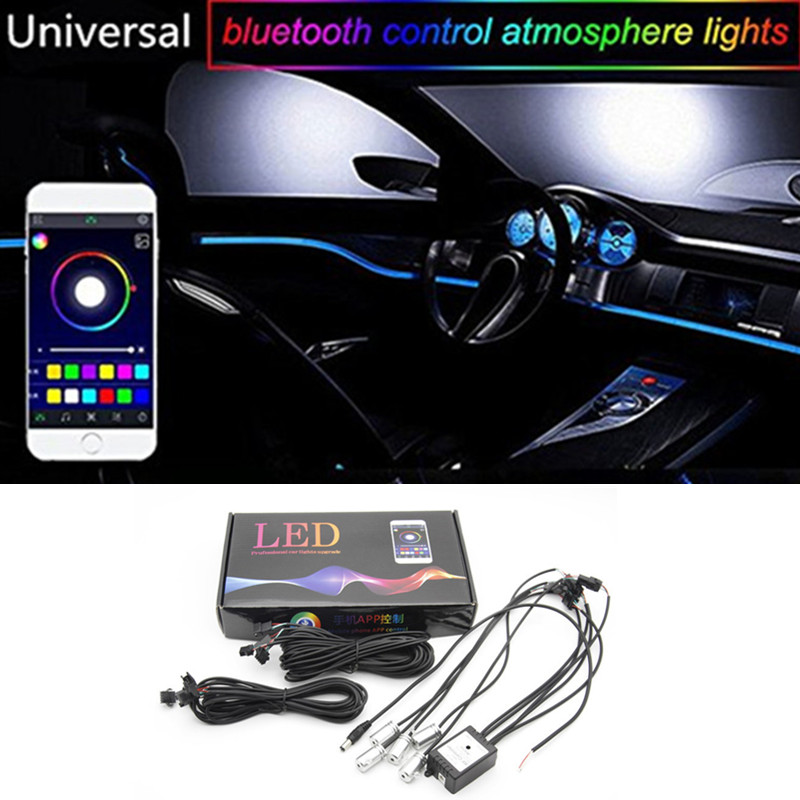 6M Bluetooth Phone Control Sound Active EL Neon Strip Light RGB LED Car Interior Light Multicolor Blue Atmosphere Light 12V гирлянда luazon дождь 2m 6m multicolor 671678