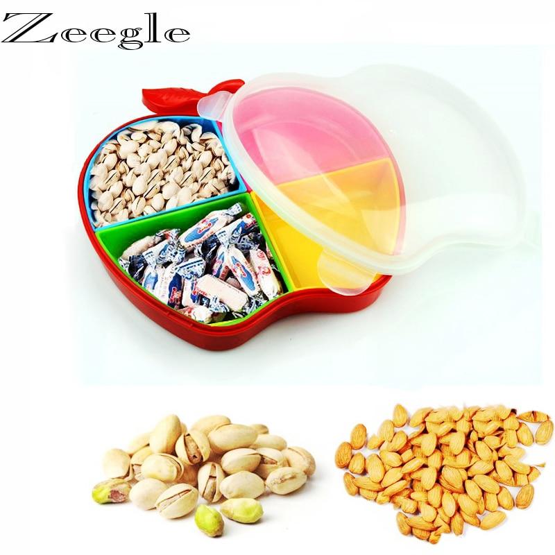 Livraison gratuite boîte de rangement de bonbons en forme de pomme bonbons organisateur d'arachide conteneur de collation 4 boîtes de rangement de nourriture compartiment d'étanchéité
