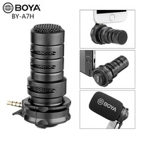 BOYA BY A7H Plug In Condenser Recording Mobile Phone Microphone with 3.5mm TRRS Smartphone Mic for ios & Android Devices Tablets
