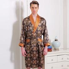 Silk Robes New Arrival Male Long-Sleeve Fashion Printed Bathrobe Robe 100% Mulberry Silk Sleepwear Robe For Men Sexy Kimono