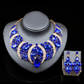 parure bijoux femme mariage nigerian wedding beads  jewelry gold plated necklace and drop earrings  six colors free shipping