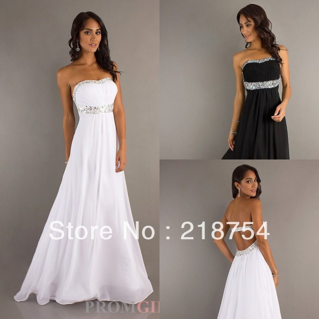 discount Hottest Sweetheart A line Beaded Floor Length White Black ...