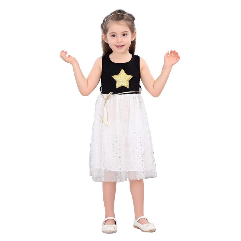 Summer children costume Kids Baby Girls Dress Stars Sequins Tulle Dresses Bow Toddler Tutu Party Princess Dress kids clothes 2