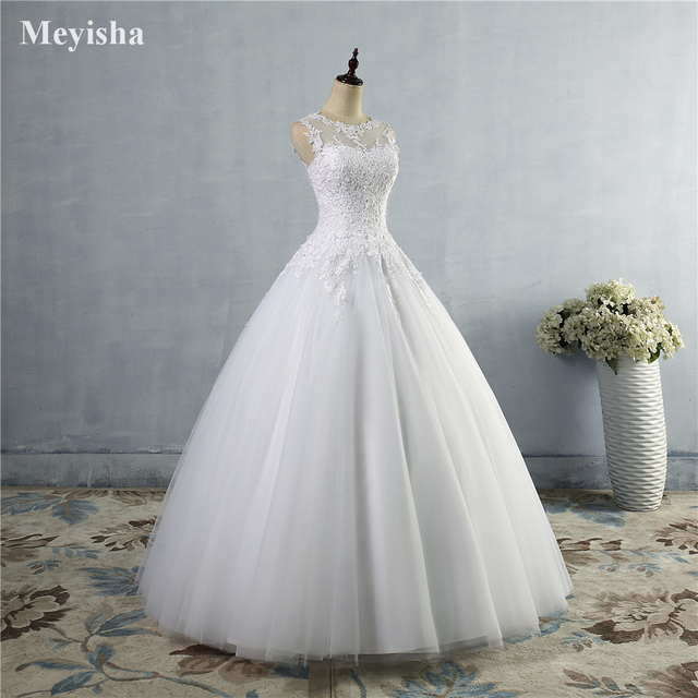 ZJ9036 2019 2020 lace White Ivory A-Line Wedding Dresses for bride Dress gown Vintage plus size Customer made size 2-28W 3