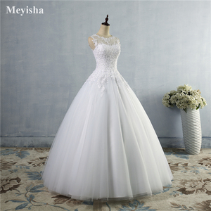 Image 3 - ZJ9036 2019 2020 lace White Ivory A Line Wedding Dresses for bride Dress gown Vintage plus size Customer made size 2 28W