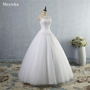 Image 3 - ZJ9036 2019 2020 spitze Weiß Elfenbein A linie Hochzeit Kleider für braut Kleid kleid Vintage plus größe Kunden maß größe 2  28 W