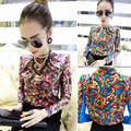 2014 Special Offer Full Stand Silk Blusas Blouse 173 B40k Autumn And Winter Shirt Women's Long-sleeve Chain Fancy Top Female