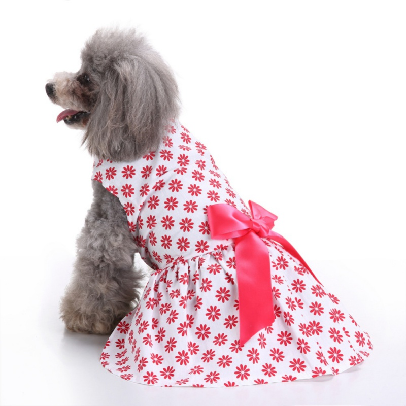 Summer Cute Flower printed <font><b>Dog</b></font> <font><b>Dress</b></font> <font><b>Dog</b></font> Clothes Cozy <font><b>Dog</b></font> Shirt Pet <font><b>Dress</b></font> <font><b>XS</b></font> Small Medium Large image