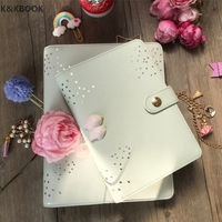 K KBOOK 2017 New Genuine Leather Cover Notebook A5 A6 Wave Point Mint Planner Kikki Stylish