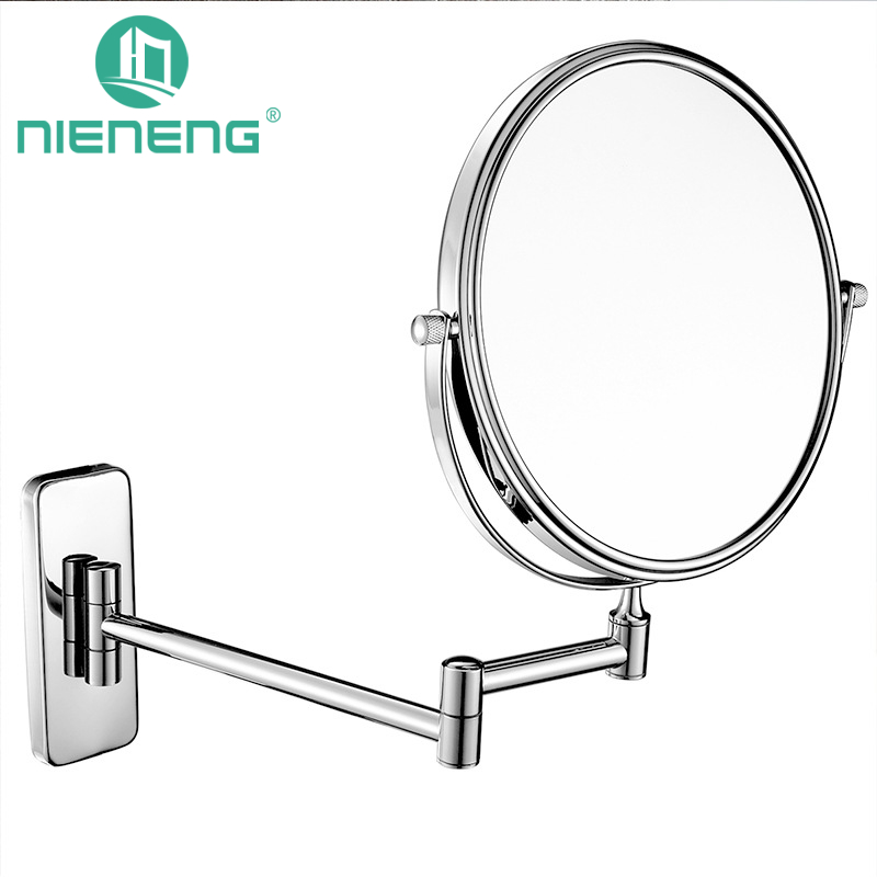 Nieneng Chrome Round Extending 8 Inches Cosmetic Wall Mounted Make Up Mirror Shaving Makeup Bathroom Mirror Accessories ICD60525 high quality 9 brass 1x3x magnifying bathroom wall mounted round 25 led cosmetic makeup mirror with lighting mirror 2068