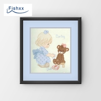 Fishxx Cross Stitch 14CT Kit European Style Children'S Bedroom Paintings H179 Treat And Scrub The Teddy Bear