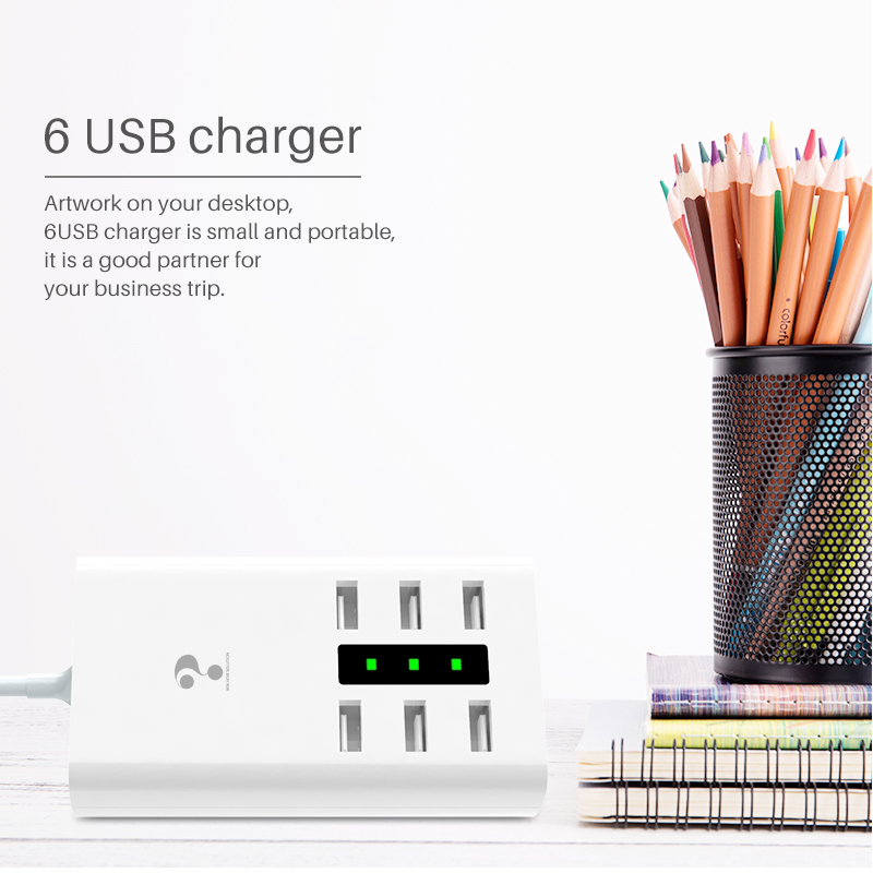 smart USB charger HUB universal multi port travel wall adapter 7.5A power socket with indicator light for Samsung Xiaomi Meizu