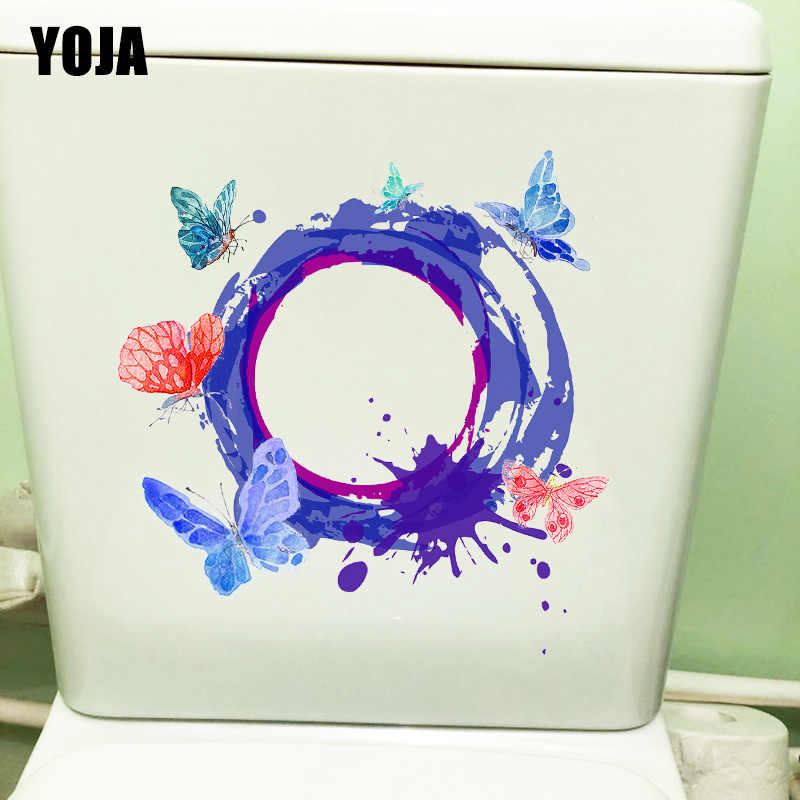YOJA 20.5X21 ซม. แหวนผีเสื้อห้องนอนเด็กตกแต่งผนัง Decals แฟชั่น Cartoom WC ห้องน้ำสติกเกอร์ T1-2248