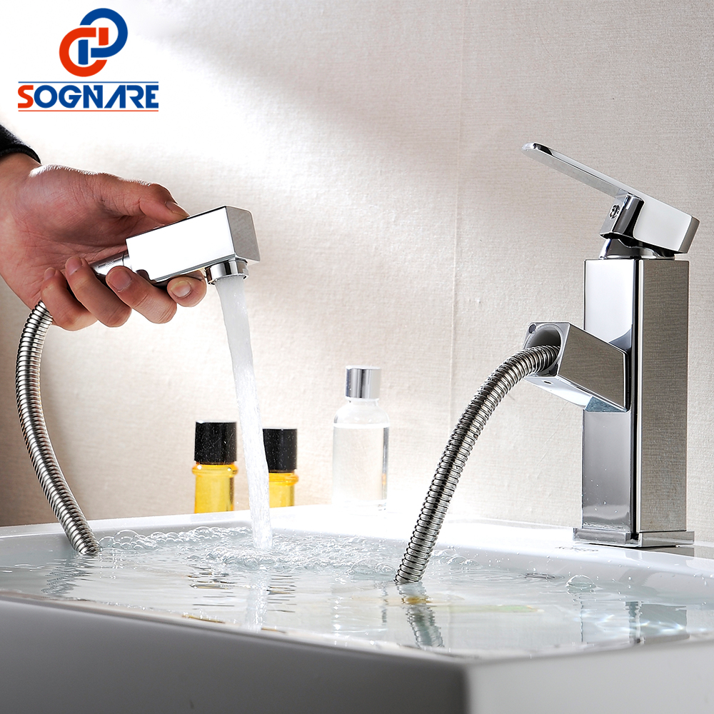 SOGNARE Pull Out Bathroom Basin Faucet Cold and Hot Bathroom Mixer Tap Brass Washbasin Faucet Single Handle Single Hole,Crane newest washbasin design single hole one handle bathroom basin faucet mixer tap hot and cold water orb chrome brusehd
