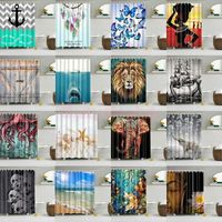 Waterproof Polyester Fabric Bathroom Modern 3D Creative Shower Curtain Sheer Panel Decor+12 Hooks