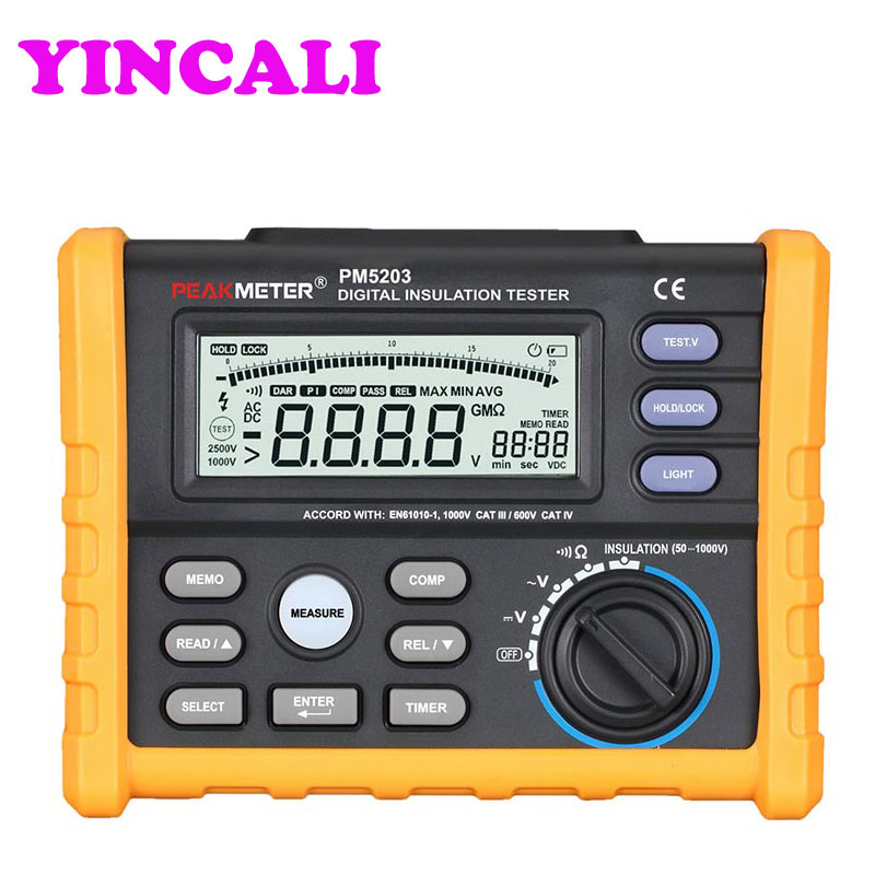 Good Quality Insulation Resistance Tester MS5203 Digital Insulation Tester 1000V megger meter 0.01~10G Ohm with Multimeter hyelec ms5203 digital megger 1000v insulation resistance tester meter dc ac voltage resistance insulation tester