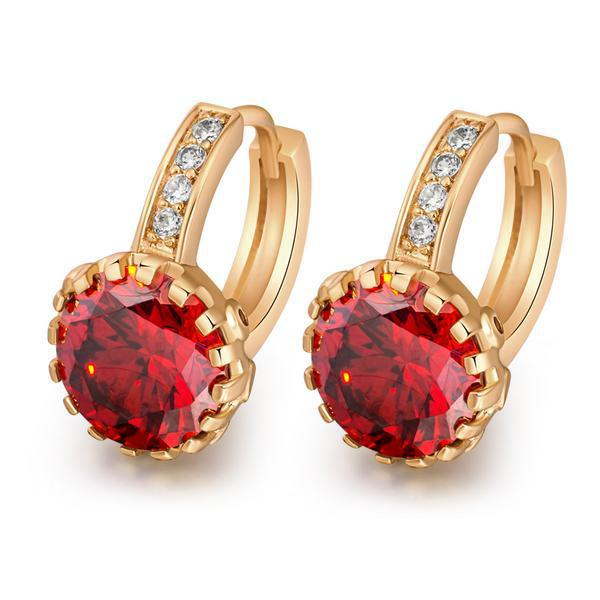Pendientes de Cristal de Circón de lujo de Oro Amarillo Plateado CZ Pendientes Para El Partido de la joyería Del Encanto Al Por Mayor para las mujeres