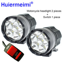 Huiermeimi 2PCS Motorcycle Headlights 12V 60W U2 LED Motorbike Hi Lo Beam Spotlight Headlamp Moto Spot Head Lights Driving Lamp(China)