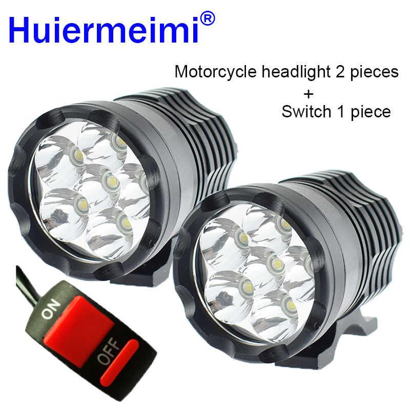 Huiermeimi 2PCS Motorcycle Headlights 12V 60W U2 LED Motorbike Hi Lo Beam Spotlight Headlamp Moto Spot Head Lights Driving Lamp