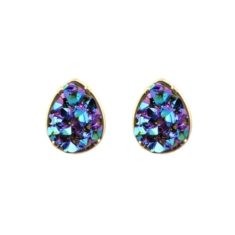 Wholesale 2018 Hot Sale Teardrop Earrings Round Shape Dazzling Quartze Stone Druzy Dot Stud Earrings for Women Fashion Jewelry