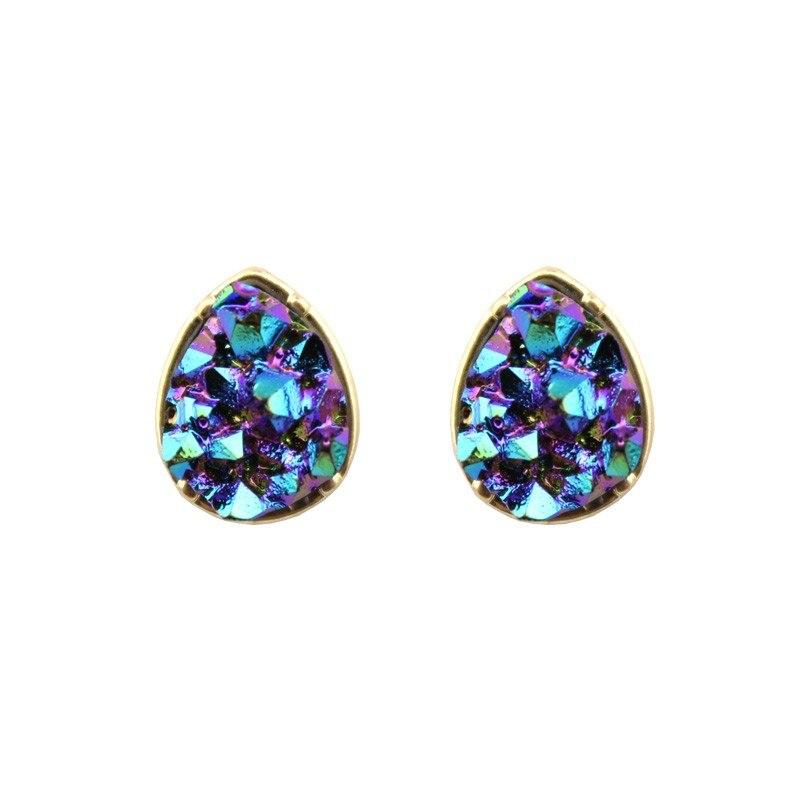 Wholesale 2016 Hot Sale Water Drop & Round Shape Dazzling Faux Quartze Stone Druzy Dot Stud Earrings for Women Fashion Jewelry