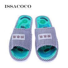 ISSACOCO 2018 Sapatos Homens Sandálias Chinelos Acupoint Massagem Nos Pés Chinelos Em Casa Masculino Pé Saúde Sapatos Portáteis Pantuflas Chinelo