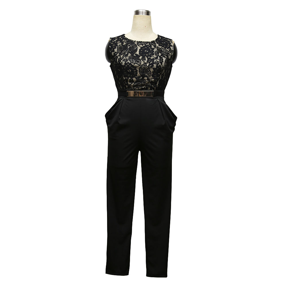 New Women Sexy jumpsuit Lace Stitching Sequined Pocket Womens casual jumpsuit Elegant Slim Fashion Rompers Women Trousers A1832