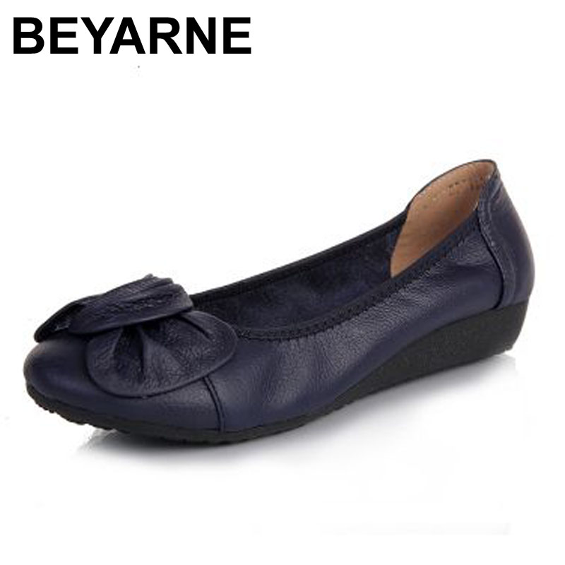 BEYARNE Genuine Leather Women Flats,Fashion Pointed Toe Ladies Ballet Flat Brand Designer Ballerina Flats Shoes Woman Shoes women ballerina flats shallow slip on ballet shoes pointed toe flats woman metal heart shape rubber leather black ladies shoes