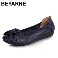 Женские балетки с острым носком BEYARNE, модные брендовые дизайнерские балетки из натуральной кожи, на плоской подошве