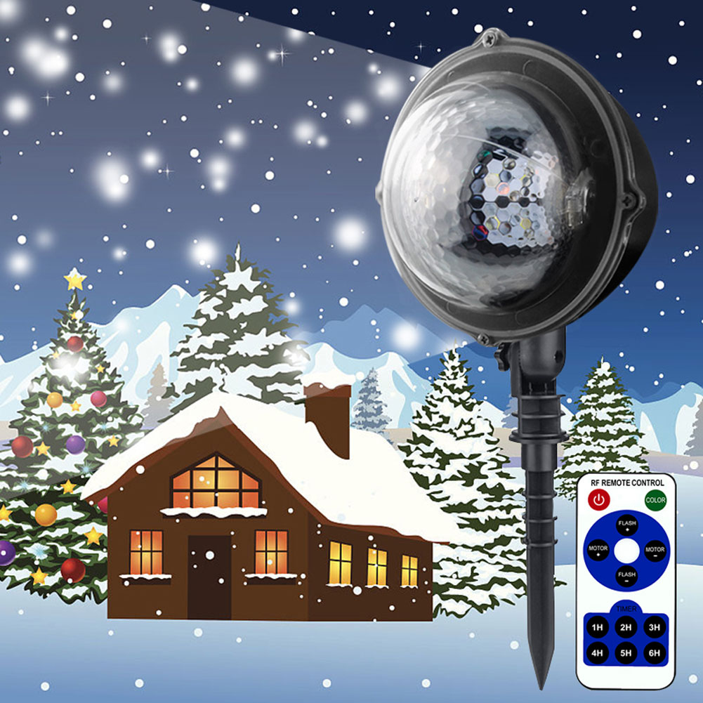 Snowfall Projection Light Waterproof White Snowflake Slide LED Fairy Light Xmas Holiday Decorations ALI88Snowfall Projection Light Waterproof White Snowflake Slide LED Fairy Light Xmas Holiday Decorations ALI88