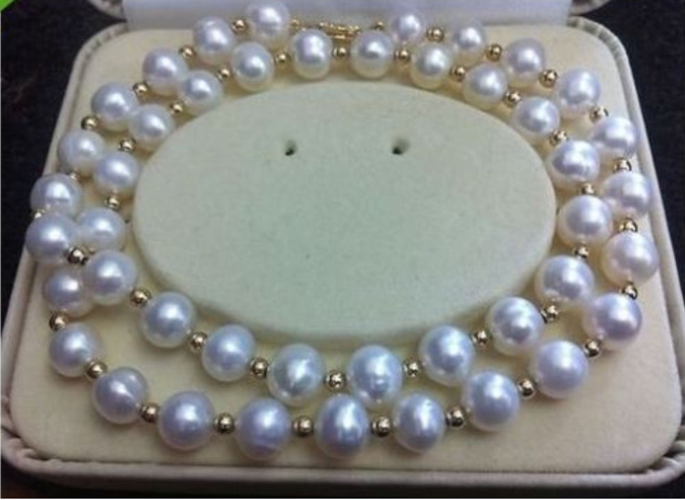 REAL NOBLEST AAA+ 9-10MM AKOYA WHITE NATURAL PEARL NECKLACE 18