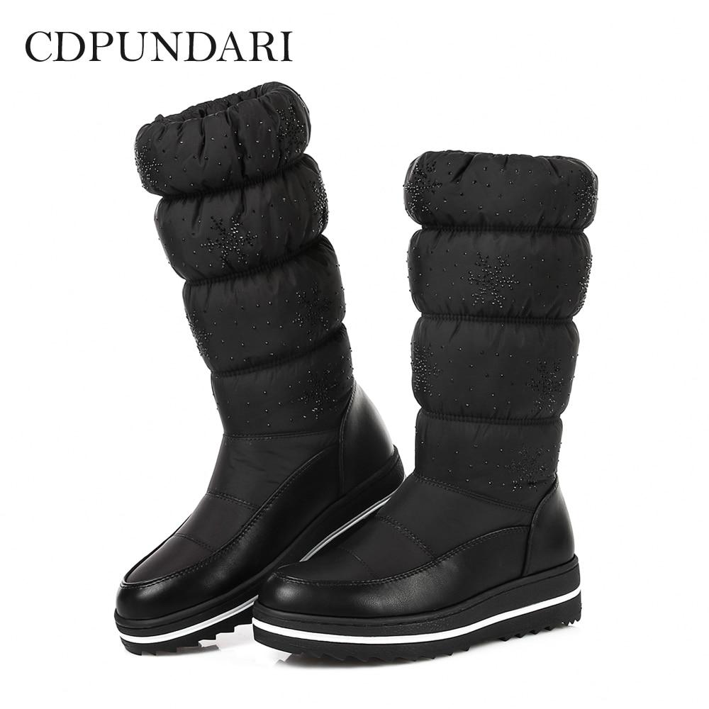CDPUNDARI Down Plush Snow Boots Women Ankle Boots Ladies flat winter platform boots Black Blue platform bowkont flocking snow boots