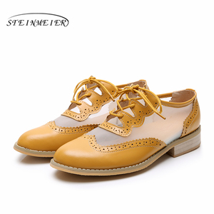 Image 3 - Women Genuine leather flats oxford shoes for women vintage plus size lady flats oxfords shoes woman loafers sneakers 2020 summer