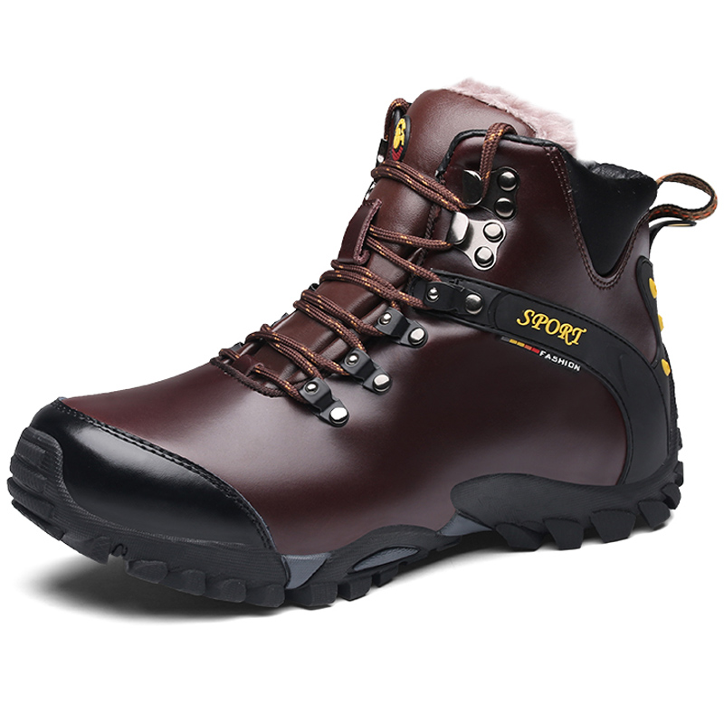 High Quality Leather Winter Warm Men Hiking Shoes Sneakers Rubber Male Sport Shoes Non-slip Camping Mountain Shoes Ankle Boots mulinsen brand new winter men sports hiking shoes cowhide inside keep warm sport shoes wear non slip outdoor sneaker 250666