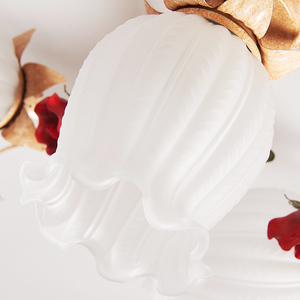 Image 2 - Nordic Art Deco Rural Red Flower Plant Led Lamp Ceiling Lights For Wedding Marriage Living Room Bedroom Home Decorative Lighting