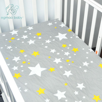 Crib Sheets Fitted Soft Woven Cotton Sheet Bedding With Unisex Custom Design Fits Standard Mattress For