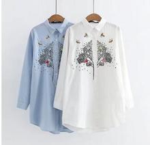 HXYZ New Spring White Shirt Blusas 2018 Bigger Size Women's Long Sleeve Tree Embroidery Loose Long Cotton Shirts Blouses XXXXL