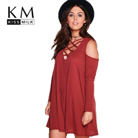 Kissmilk Plus Size Cirss Cross Front Deep V Neck Cold Shoulder Mini Dress Solid Color Loose
