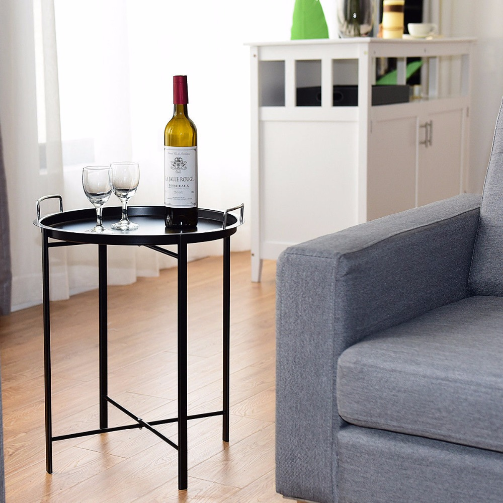 Giantex plateau en métal Table bout rond Table canapé SideTable salon chambre noir meubles de maison HW58502BK