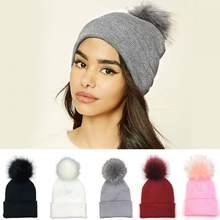 Invierno de las mujeres sombrero gorro de lana pompón de piel suave  sombreros ponpon tapas de ganchillo sombrero mujer sombrero . 1a26c035ee5