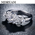 silver trendy ring plated with AAA Zircon for lady wedding prong style Fancy elegantrings  jewelry LSR025