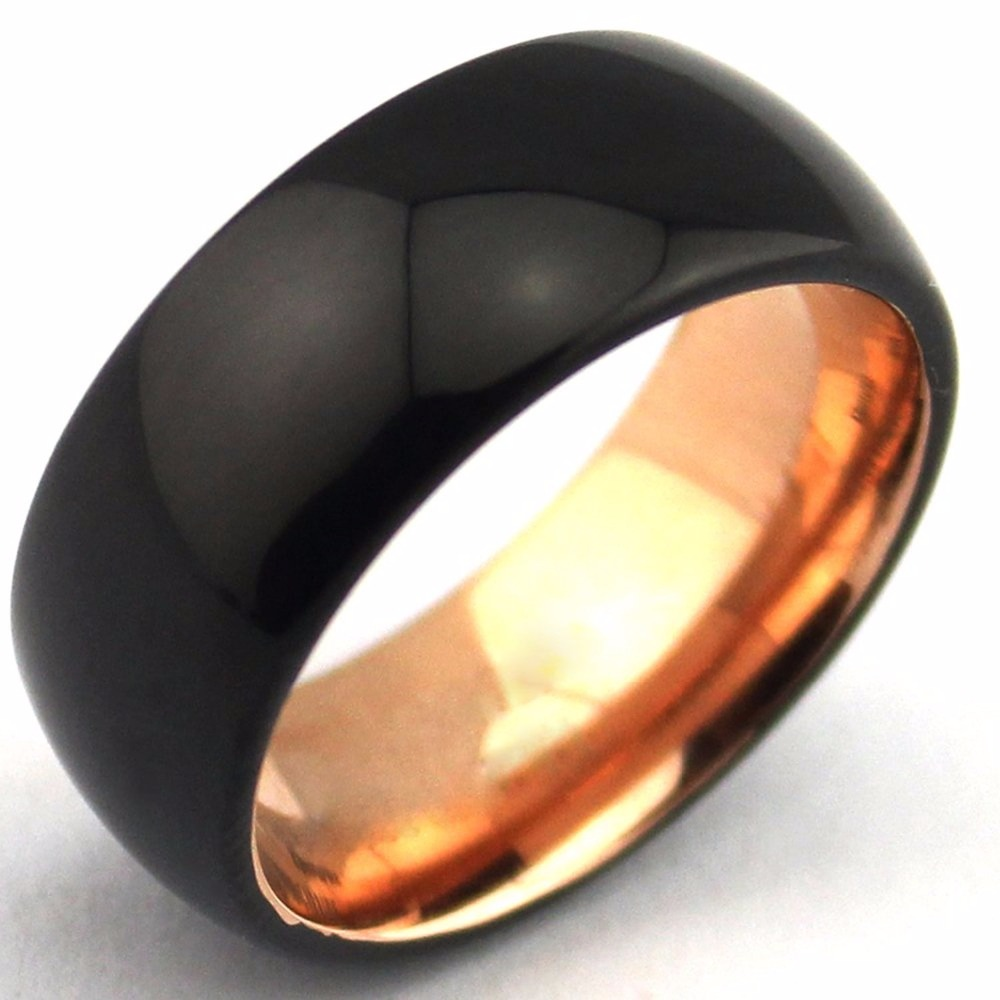 Wholesale Black Domed Tungsten Carbide Two Tone Rings Rose Gold Interior,  8mm Mens Wedding Bands