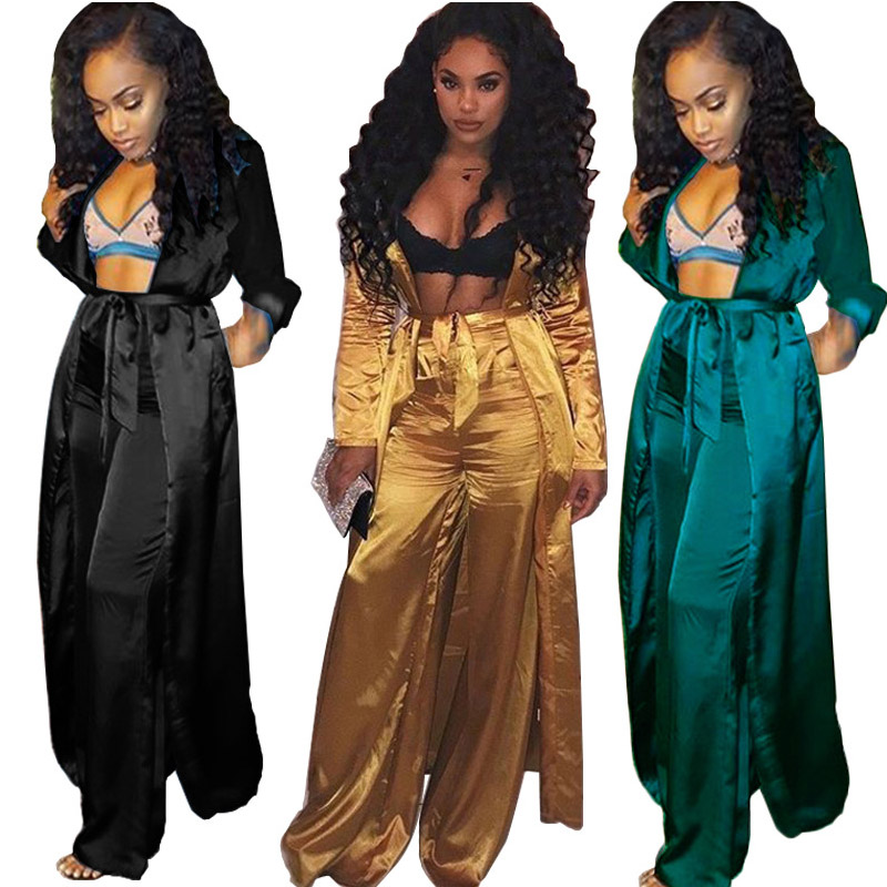 REDCORE 2019 Spring 2 Piece Set Women Sexy Coat+Trousers Ladies Plus Size Clothes Long Sleeve Women Fashion Silk Set S-XXL TZ072