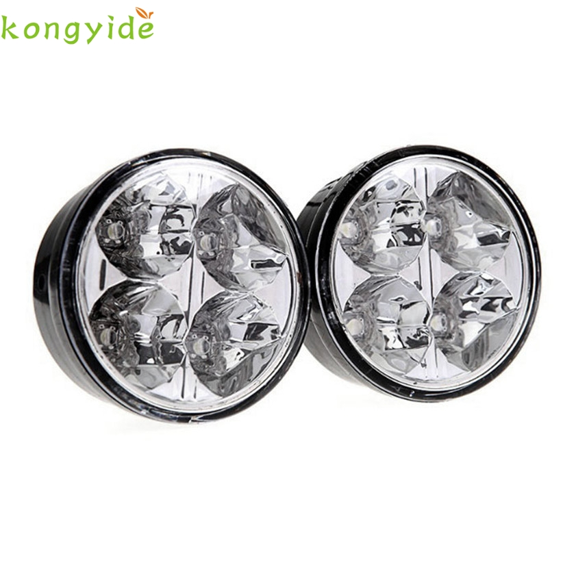 High Quality car-styling   drl 2x 4 LED Round DRL Daytime Running Driving Auto Car Fog Light Lamps Bulb Kit Set 1 pair high quality daytime running lights led car drl dc 12v car styling light source auto fog lamps lamp 6 led bulbs