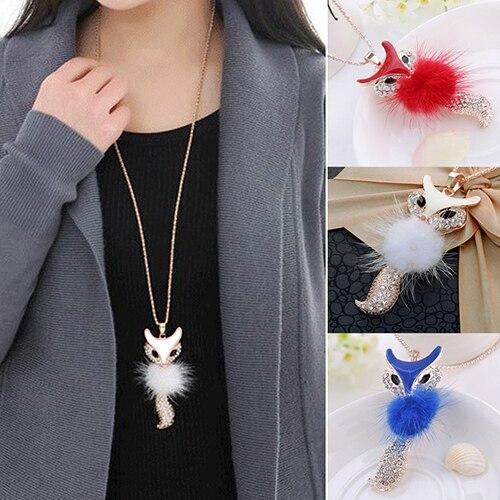 Хит продаж, женский милый кулон с лисичкой длинное эффектное ожерелье и подвески