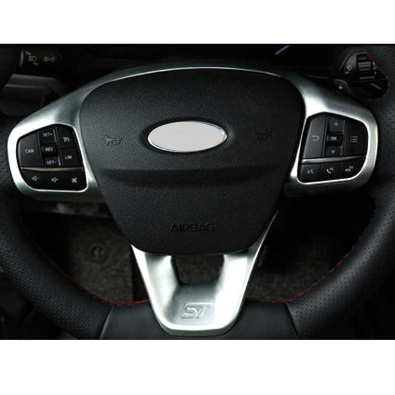 ZHGHS per Ford Fiesta MK8 2017 2018 2019 Accessori ABS Fibra di Carbonio St Auto Volante Volante Trim Cover Pulsante di Controllo Autoadesivo dellautomobile