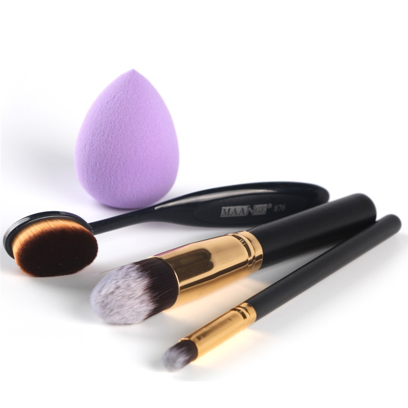 4pcs High Quality Makeup Brushes Sponge Puff Set Toothbrush Foundation Powder Blending Blush Brush Make Up Tools ves vmd 2
