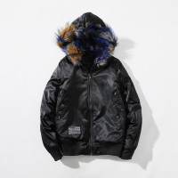 2017 New Jacket Men Harbor Pilots MA1 Fur Hooded Jacket Casual Cotton Coat Hip Hop Male